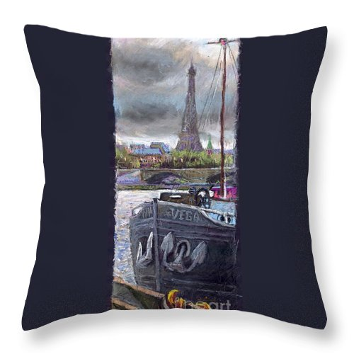 Pastel Throw Pillow featuring the painting Paris Pont Alexandre IIi by Yuriy Shevchuk