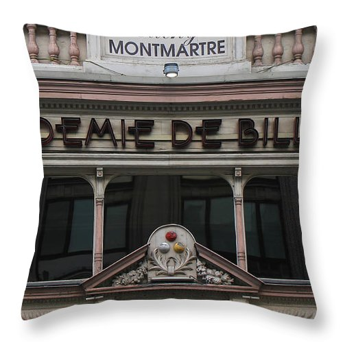 Paris Throw Pillow featuring the photograph Paris Pool Hall by Andrew Fare