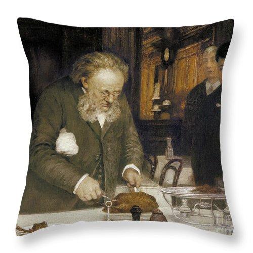 1890s Throw Pillow featuring the photograph Paris: Restaurant, C1890 by Granger