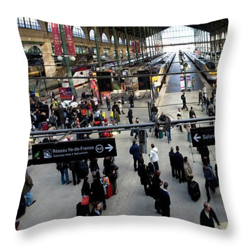 Photography Throw Pillow featuring the photograph Paris Train Station by Frederic A Reinecke