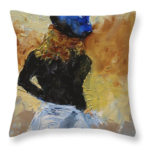 Figurative Throw Pillow featuring the painting Parisian by Barbara Andolsek