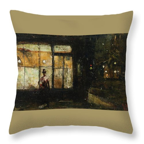 Lesser Ury 1861-1931 Parisian Boulevard At Night Throw Pillow featuring the painting Parisian Boulevard At Night by Lesser Ury