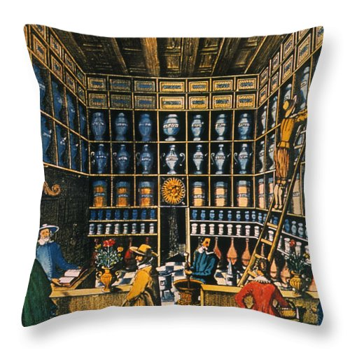 1624 Throw Pillow featuring the photograph Parisian Pharmacy, 1624 by Granger