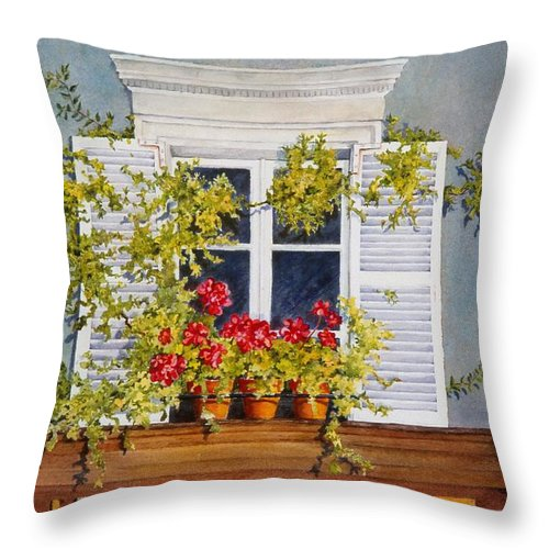 France Throw Pillow featuring the painting Parisian Window by Mary Ellen Mueller Legault