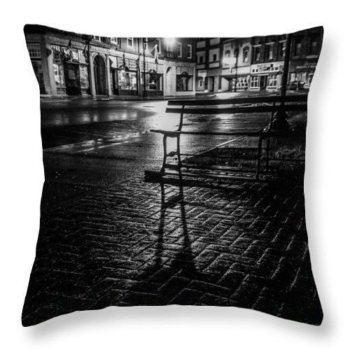 Throw Pillow featuring the photograph Park bench on a rainy night by Kendall McKernon