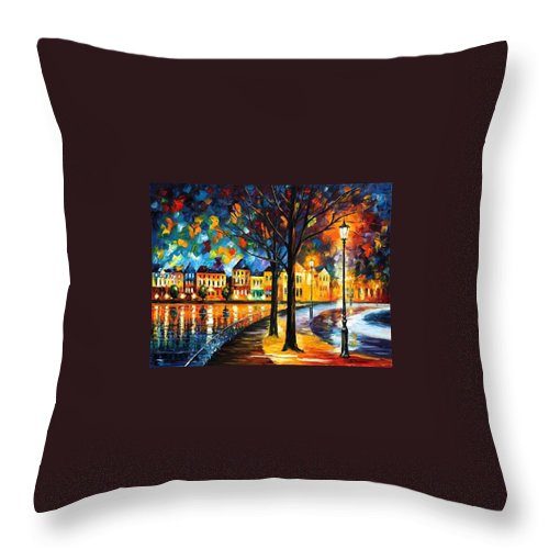 Afremov Throw Pillow featuring the painting Park By The River by Leonid Afremov