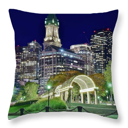 Boston Throw Pillow featuring the photograph Park Entrance In Boston by Frozen in Time Fine Art Photography