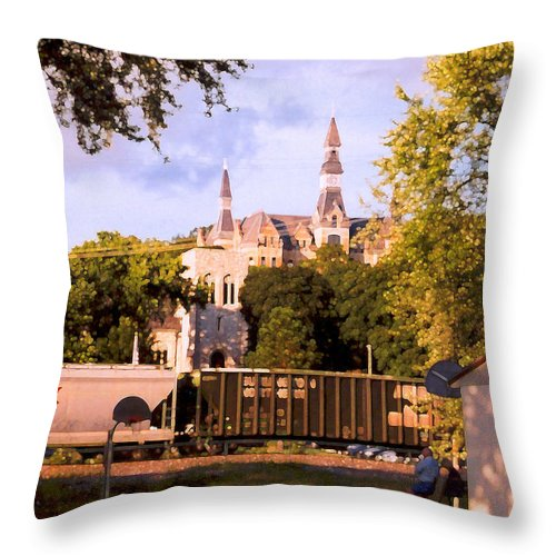 Landscape Throw Pillow featuring the photograph Park University by Steve Karol