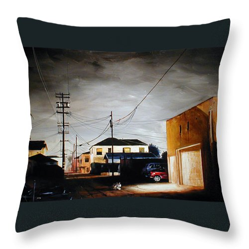 Cityscapes Throw Pillow featuring the painting Parked In The Light by Duke Windsor