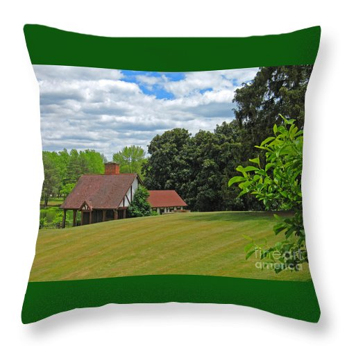 Landscape Throw Pillow featuring the photograph Parkland Cottage by Ann Horn