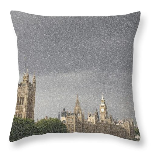 London Throw Pillow featuring the photograph Parliament Blizzard by Christopher Rowlands
