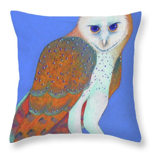 Barn Throw Pillow featuring the pastel Parliament Of Owls Detail 1 by Tracy L Teeter