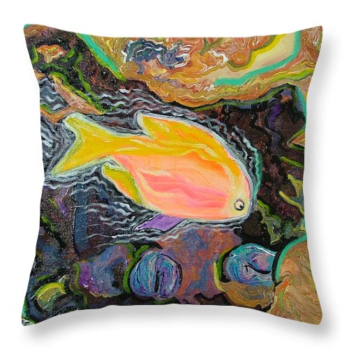 Neon Throw Pillow featuring the painting Parrot Fish Are Transgendered by Heather Lennox