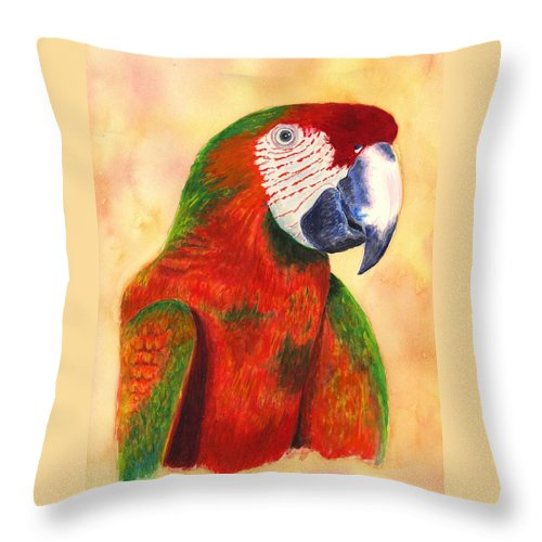 Parrot Throw Pillow featuring the painting Parrot by Michael Vigliotti