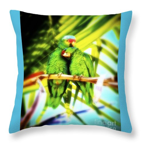 Wildlife Throw Pillow featuring the photograph Parrotheads 2016 Redux For Shirts by Gus McCrea