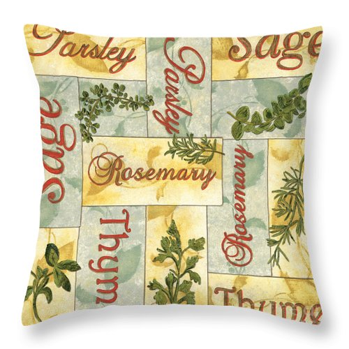 Parsley Throw Pillow featuring the painting Parsley Collage by Debbie DeWitt