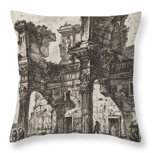Throw Pillow featuring the drawing Parte Di Foro Di Nerva by Giovanni Battista Piranesi