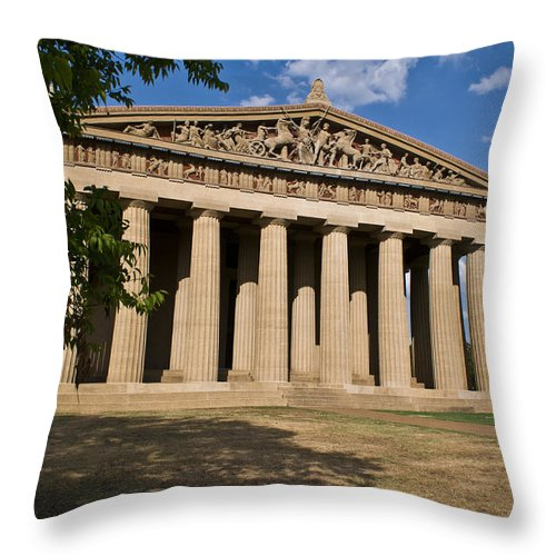 Parthenon Throw Pillow featuring the photograph Parthenon Nashville Tennessee From The Shade by Douglas Barnett