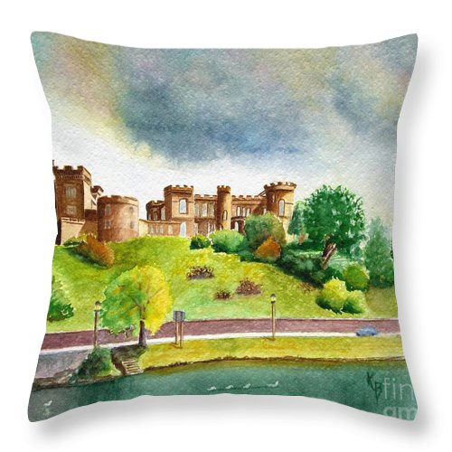 Scotland Throw Pillow featuring the painting Partly Cloudly by Karen Fleschler