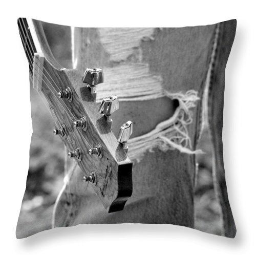 Guitar Throw Pillow featuring the photograph Parts by Elizabeth Hart