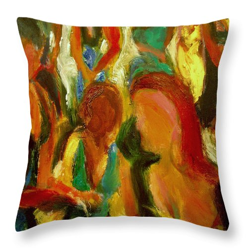 Dornberg Throw Pillow featuring the painting Party by Bob Dornberg