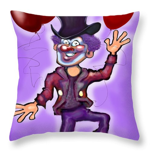Clown Throw Pillow featuring the greeting card Party Clown by Kevin Middleton