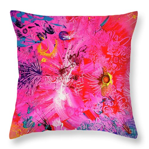 Throw Pillow featuring the painting Party Dress by Pink Plumbus