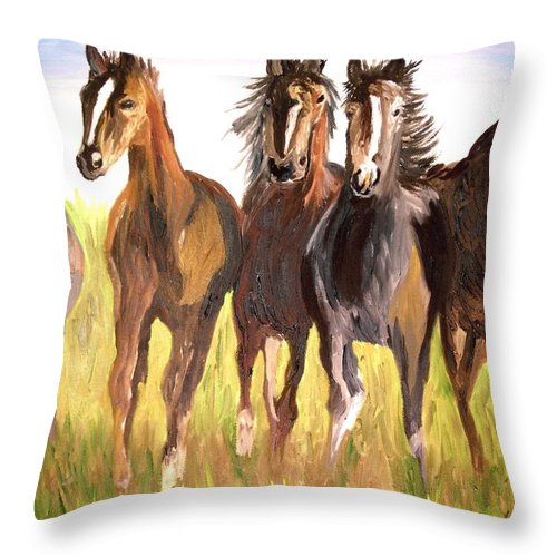 Horses Throw Pillow featuring the painting Party Of Five by Michael Lee