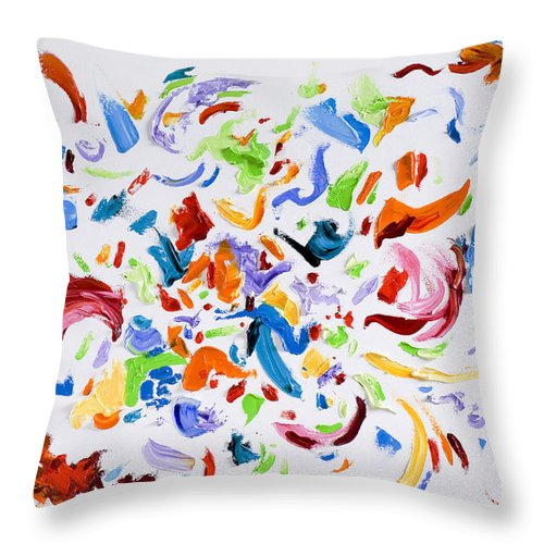 Red Throw Pillow featuring the painting Party by Shannon Grissom