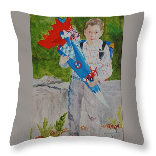 School Throw Pillow featuring the painting Pascals first day at school 2004 by Helmut Rottler