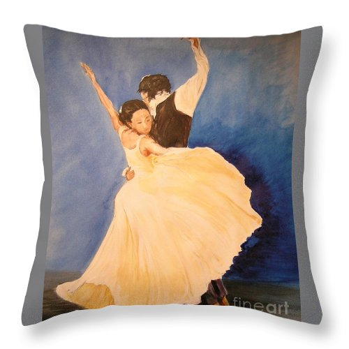 Spain Throw Pillow featuring the painting Pasion Gitana by Lizzy Forrester