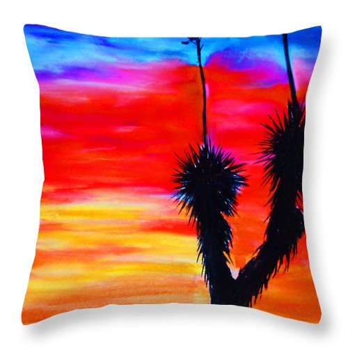 Sunset Throw Pillow featuring the painting Paso Del Norte Sunset 1 by Melinda Etzold