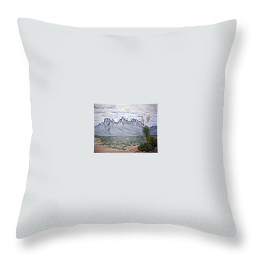 Desertscape Throw Pillow featuring the painting Pass Of The North by Marco Morales