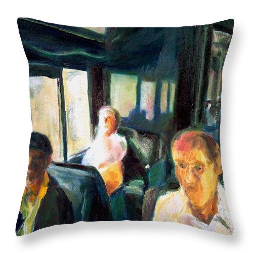Dornberg Throw Pillow featuring the painting Passenger Train by Bob Dornberg