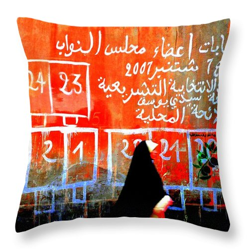 Marrakech Throw Pillow featuring the photograph Passing By Marrakech Red Wall by Funkpix Photo Hunter