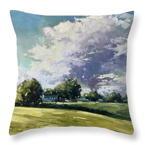 Oil Throw Pillow featuring the painting Passing By by Vlad Duchev