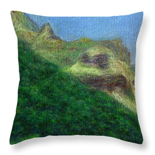 Rainbow Colors Pastel Throw Pillow featuring the painting Passing Shadow by Kenneth Grzesik