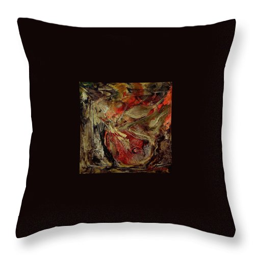 Abstract Throw Pillow featuring the painting Passion  by Rome Matikonyte