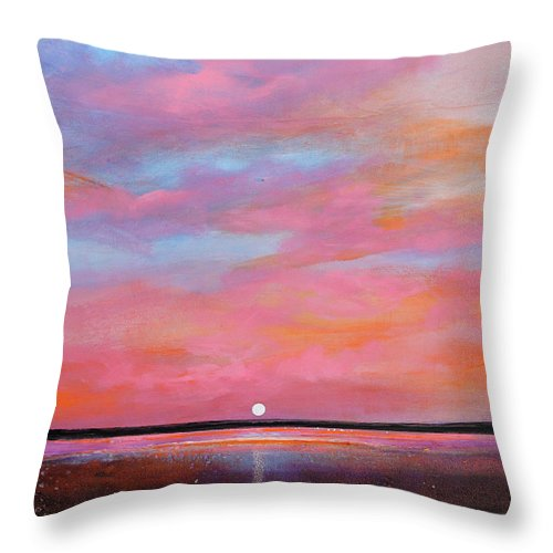 Sunrise Throw Pillow featuring the painting Passion Beach by Toni Grote
