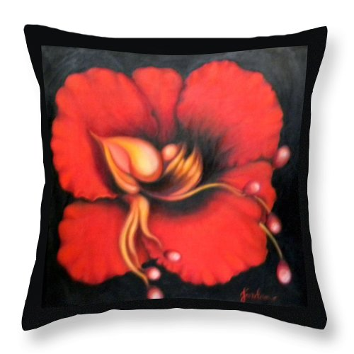 Red Surreal Bloom Artwork Throw Pillow featuring the painting Passion Flower by Jordana Sands