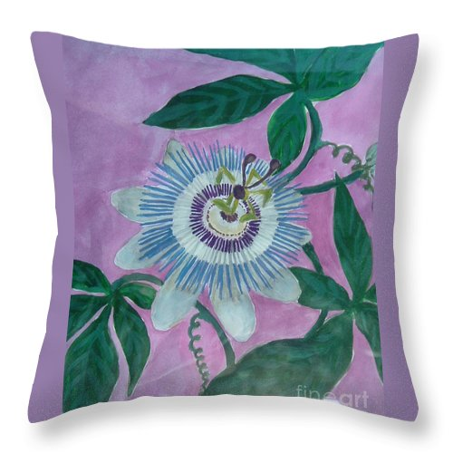 Passiflora Throw Pillow featuring the painting Passion Flower by Melina Mel P