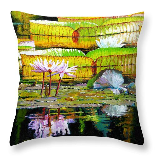 Water Lilies Throw Pillow featuring the painting Passion for Color by John Lautermilch