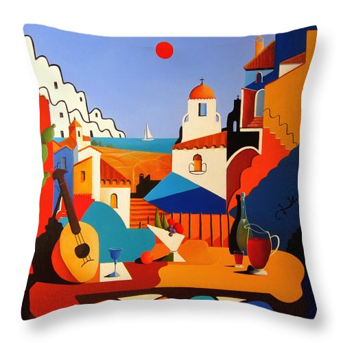 Passion For Life Throw Pillow featuring the painting Passion For Life Spain by Ray Gilronan