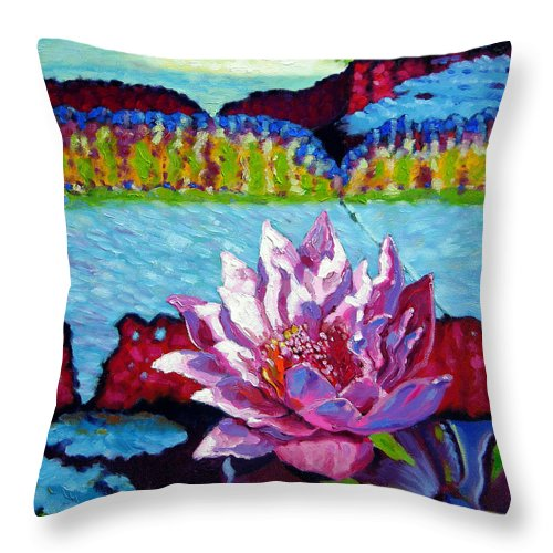 Water Lily Throw Pillow featuring the painting Passion For Light And Color by John Lautermilch