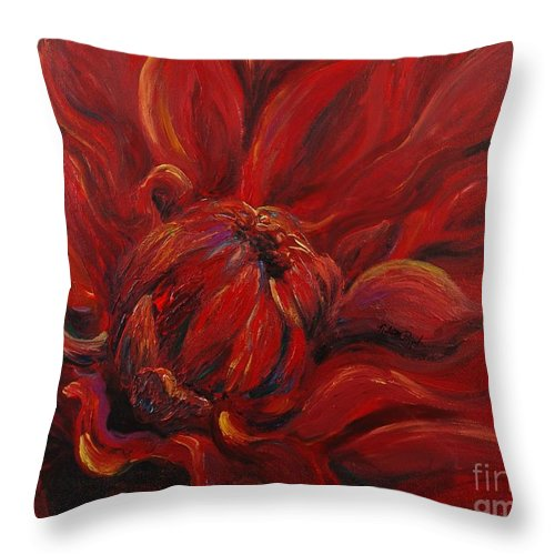 Red Throw Pillow featuring the painting Passion II by Nadine Rippelmeyer