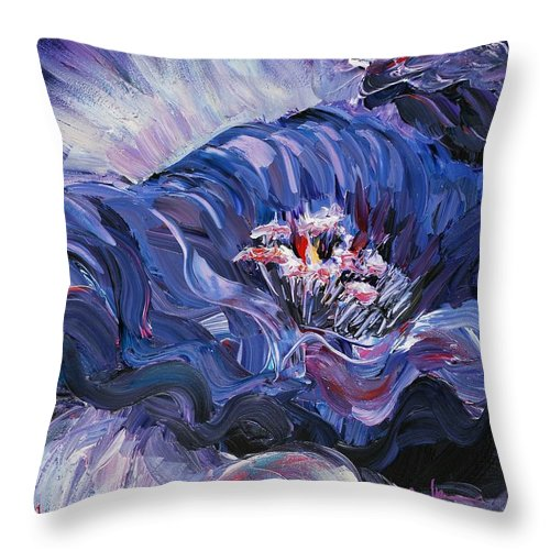 Blue Throw Pillow featuring the painting Passion In Blue by Nadine Rippelmeyer