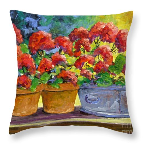 Still Life; Geraniums; Flowers; Terra Cotta; Red; Blue; Yellow; Green; Pranke; Throw Pillow featuring the painting Passion In Red by Richard T Pranke