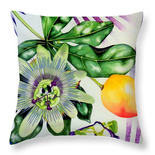 Passion Fruit Throw Pillow featuring the painting Passion In The Tropics by Margaret Elizabeth Johnston ND