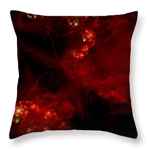 Passion Red Explosion Expression Blood Heart Throw Pillow featuring the digital art Passional by Veronica Jackson