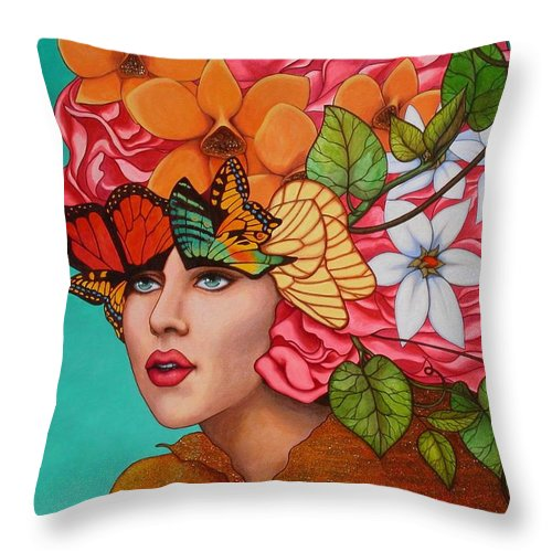 Woman Throw Pillow featuring the painting Passionate Pursuit by Helena Rose